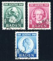 FZ BADEN, MiNr. 47-49, sauber gestempelt, gepr. Schlegel, Mi. 110,-