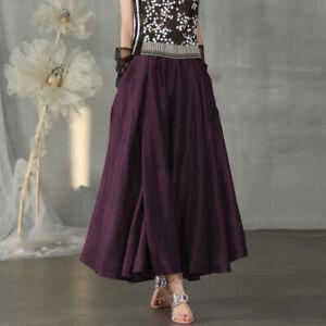 ZANZEA Women's Pleated Skirt A-Line High Waist Skirts Party Gown Long Maxi Dress