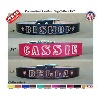 Dog Collars and Leashes Personalized- Custom Leather Dog Collar - Medium Dogs