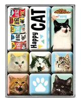 Retro 9 pc Metal Magnet Set 'HAPPY CATS' Vintage Country look 50's Pussy Cat