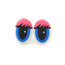 Oval Blue Plastic Eyes Toy Puppets Dolls Eyes DIY 22 x 14mm 5 Pairs(10Pcs) DSUK