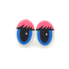 Oval Blue Plastic Eyes Toy Puppets Dolls Eyes DIY 22 x 14mm 5 Pairs(10Pcs)
