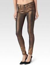 NWT Paige Denim Verdugo Ultra Skinny in Copper Galaxy Coated Stretch Jeans 24