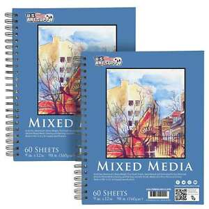 """9"""" x 12"""" Mixed Media Paper Pad Sketchbook, 2 Pack, 60 Sheets 98 lb, Spiral-Bound"""