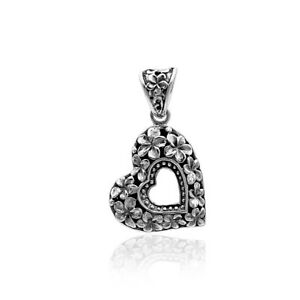 Designer Frangipani Floral HEART Pendant in 925 Sterling Silver with Chain