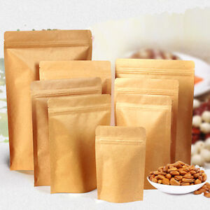 Resealable Zip Lock Kraft Paper Bag Pouch Stand Up Foil Heat Seal Food Grade