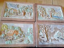 VERY RARE VINTAGE SET - FOUR SEASONS HERSHEY MOLD DECORATIVE WALL PLAQUES 1982