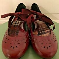Women's BORN Handcrafted Red Patient Leather Tap Style Mary Jane Shoes Sz 6/36.5