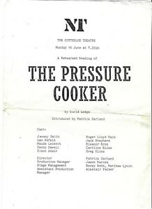 1986 David Lodge play reading NT theatre programme Pressure Cooker Writing Game