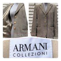 Armani Collezioni Italy Women 10 Herringbone Wool Blend Jacket Blazer Suit Coat