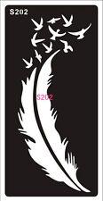 Henna decal stencil body jewllery self adhesive feather birds S202