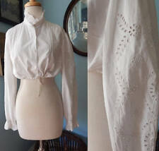 VTG 80's white crop festival blouse poet sleeves cut out embroidery boho hippie