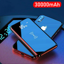 Quick Charge 30000mAh Wireless Power Bank Dual USB Mirror Screen Built-in QI New
