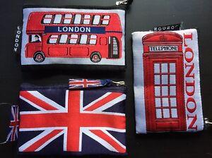 3 London Souvenir Coin Money Bag Purse Union Jack Red Bus & Phone Box Designs