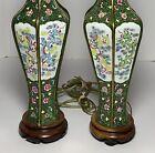"Vintage NEAR PAIR CHINESE CANTON ENAMEL Vases LAMPS DRAGONS PHOENIX BIRDS 29""H"
