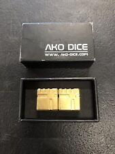 Six-Sided Metal AKO Gold Dice Box Set
