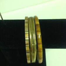 """4 Gold and Caramel Colored  Stone Bangles  All 2 3.4"""" Diameter Good Used  Condit"""