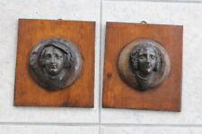 Ancienne paire de bas-relief en médaillon Bronze XVIII/XIX ème