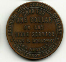 Los Angeles Ca token - Southern Title Guaranty Co - $1 on title service - Calif
