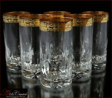 """Bohemian Crystal Water Glasses 16 cm, 300 ml, """"Annetta"""" Gold 6 pc New!"""