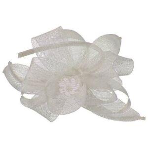 Euphyllia Anastasia Crin Loops & Petals Fascinator on Headband Silver (b155sil)