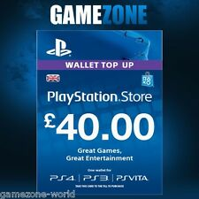 PlayStation Network £40 GBP - 40 Pounds PSN Store Card Key - PS4 PS3 PSP – UK