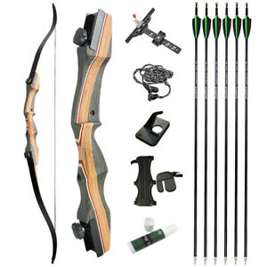 """62"""" Takedown Recurve Bow 30-50lbs Limbs Wooden Riser Youth Adult Archery Hunting"""