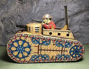 "Vintage Marx | 10"" Doughboy Tank | Tin Wind Up Toy | Works | Missing Key"