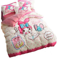 Japan Anime My Melody Flannel Present Melody Bed Sheet Quilt Cover 1 Set Gift
