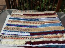"Vintage Crochet Granny Stripes Afghan Blanket Multi Color Family  73"" X 63"" Big"