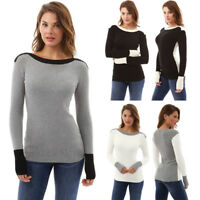 Womens Long Sleeve Sweater Blouse Ladies Sweatshirt Knitted Jumper Pullover Tops