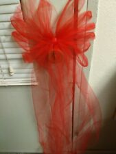 Sale $30 12 Red Wedding Tulle Pew Bows Or Any Color  Rush Orders  Available