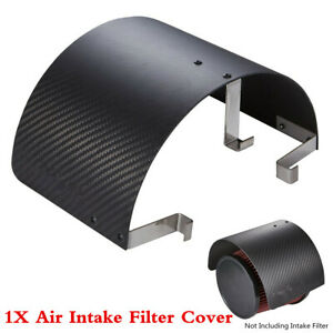 1Pcs Carbon Fiber Look Stainless Steel Car Air Intake Filter Heat Shield Cover