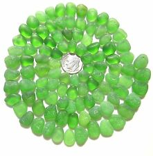 K04 - 100 PIECE LOT OF BEAUTIFUL GREEN JQ GENUINE SURF-TUMBLED BEACH SEA GLASS