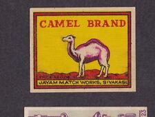 Ancienne  étiquette  allumettes Inde BN18741 Camel Chameau