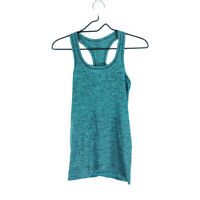 Lululemon Swiftly Tech Racerback Tank Top 4 Heathered Black Green Scoop Neck