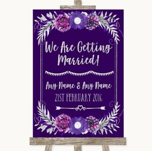 Wedding Sign Poster Print Purple & Silver We Are Getting Married