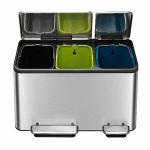 Kitchen Recycling Bin Stainless Steel Three 15L Inner Buckets 45L EKO Ecocasa