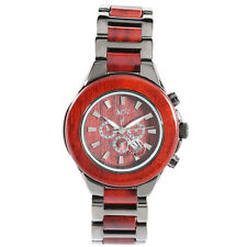 Women's Natural Rosewood Black Ion-Plated Chronograph Look Dial Watch W9004LB1