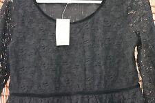 Max Studio Ladies  black lace long sleeve Top NWT size M retail $98
