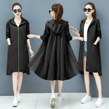 Women's Trench Coat Hooded Jacket Zipper Windbreaker Loose Long Outwear S-3XL