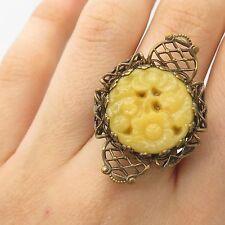 Antq Fashion Real Yellow Jade Gemstone Handmade Large Adjustable Ring Size 7