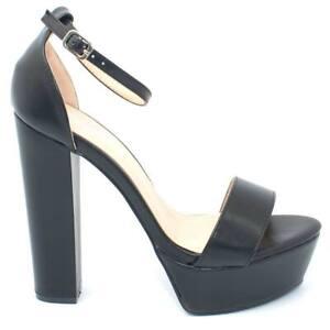 Sandalo donna nero in ecopelle tacco largo alto 15 cm plateau 4 cm cinturino all
