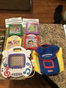 2002 Mattel Learn Through Music Touch Pad Game Player, 4 Cartridges, Bag. Works
