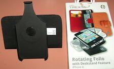 Trexta Rotating Premium Leather Folio Apple iPhone 4/4s, Genuine Black Leather