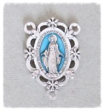 Miraculous Medal Scallop Edge Rosary Center ITALY Centerpieces BLUE T219*