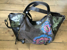 Desigual Brown Large Shoulder Bag, Embroidered Vgc