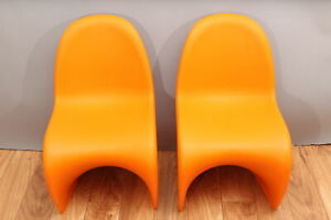 Pair Authentic Vitra Italian Modern Panton Junior Childs Orange Stacking Chairs