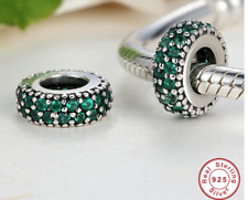 PANDORA PAVE SPACER CHARM DEEP GREEN STONES 925 STERLING SILVER