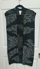 Chico's Size 0 Open Front Long Sleeveless Sweater Vest Black and White EUC!